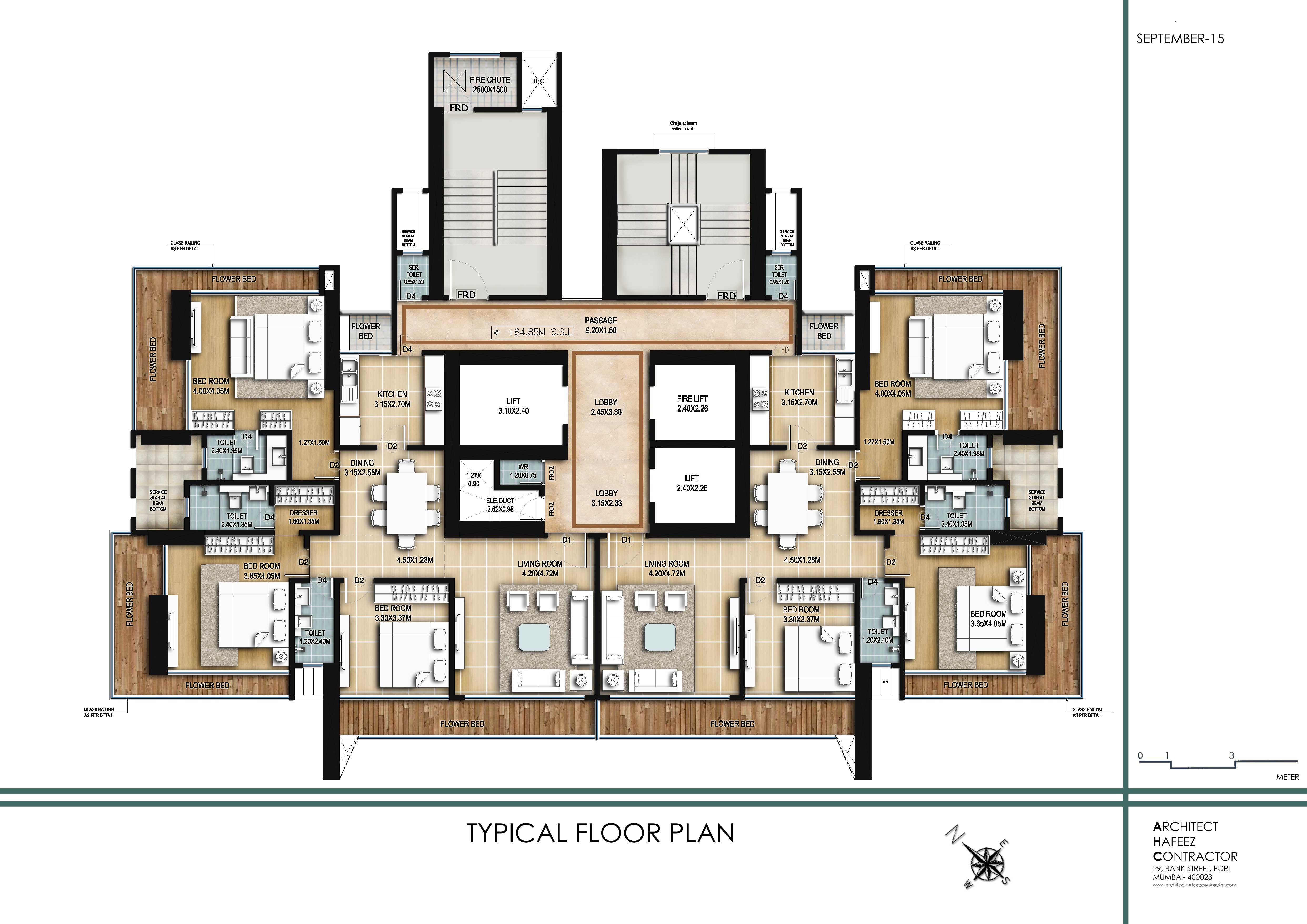 Typical Floor Plan of 3 BHK